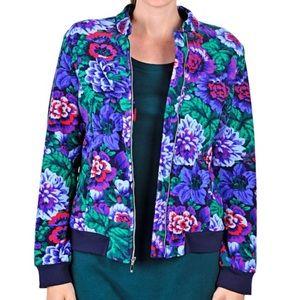 Isaac Mizrahi Live Floral Fleece Jacket L